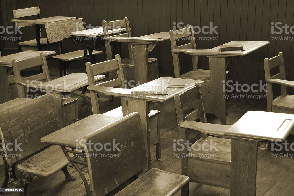 Vintage  Classroom in Sepia royalty-free stock photo