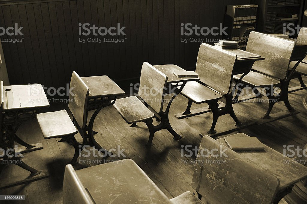 Vintage  Classroom in Sepia stock photo