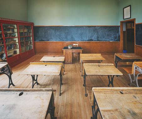 A vintage school house classroom.  Mild cross processing.