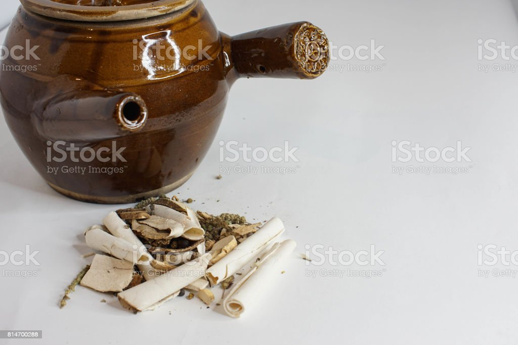 vintage clay pot for cooking herbal medicine stock photo