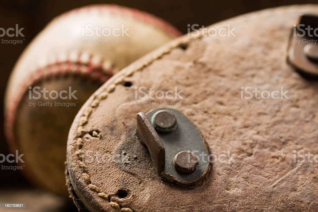 Vintage Cleats and Baseball Close-Up stock photo