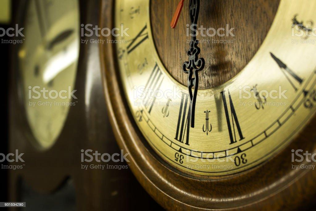 Vintage clock close-up stock photo
