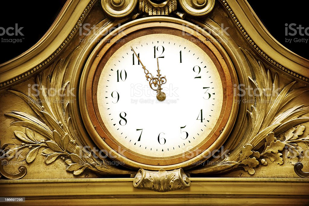 Vintage Clock Countdown To Midnight royalty-free stock photo