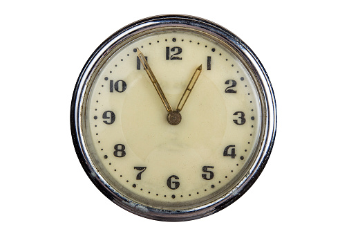 Vintage Clock Face Isolated On White Background 5 Minutes To One Oclock Stock Photo Download Image Now Istock