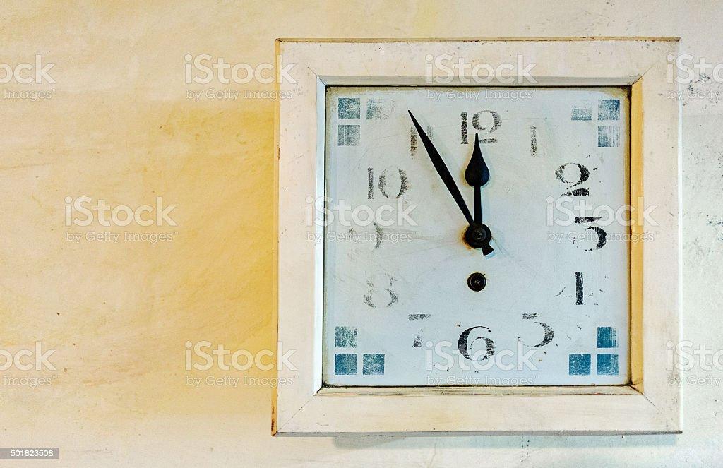 Vintage clock: Fünf vor zwölf, 23:55, 11:55 stock photo