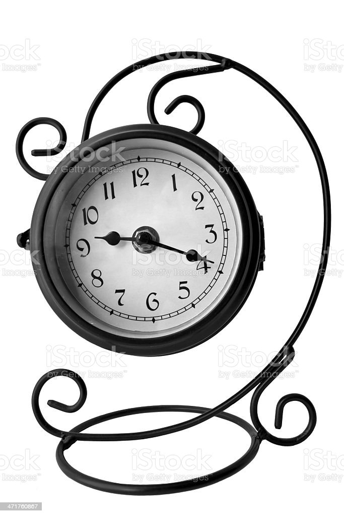 Vintage clock isolated on the white background stock photo