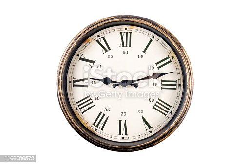 istock Vintage Clock Isolated on White 1166086573