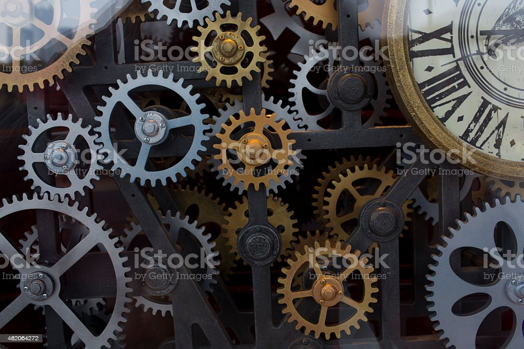 Vintage clock mechanism stock photo