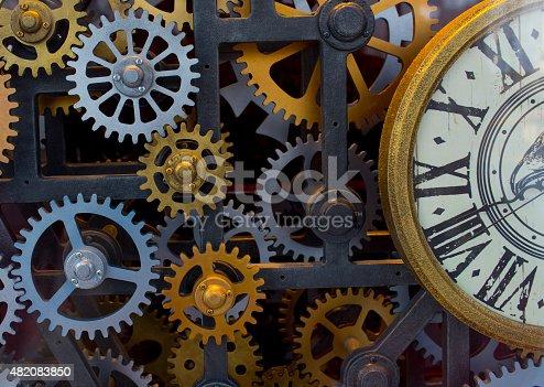 istock Vintage clock mechanism 482083850