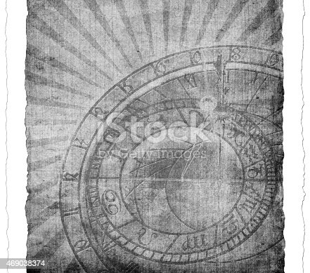 1129542015 istock photo Vintage clock on paper 469038374