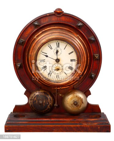 Old wooden clock isolated on white.