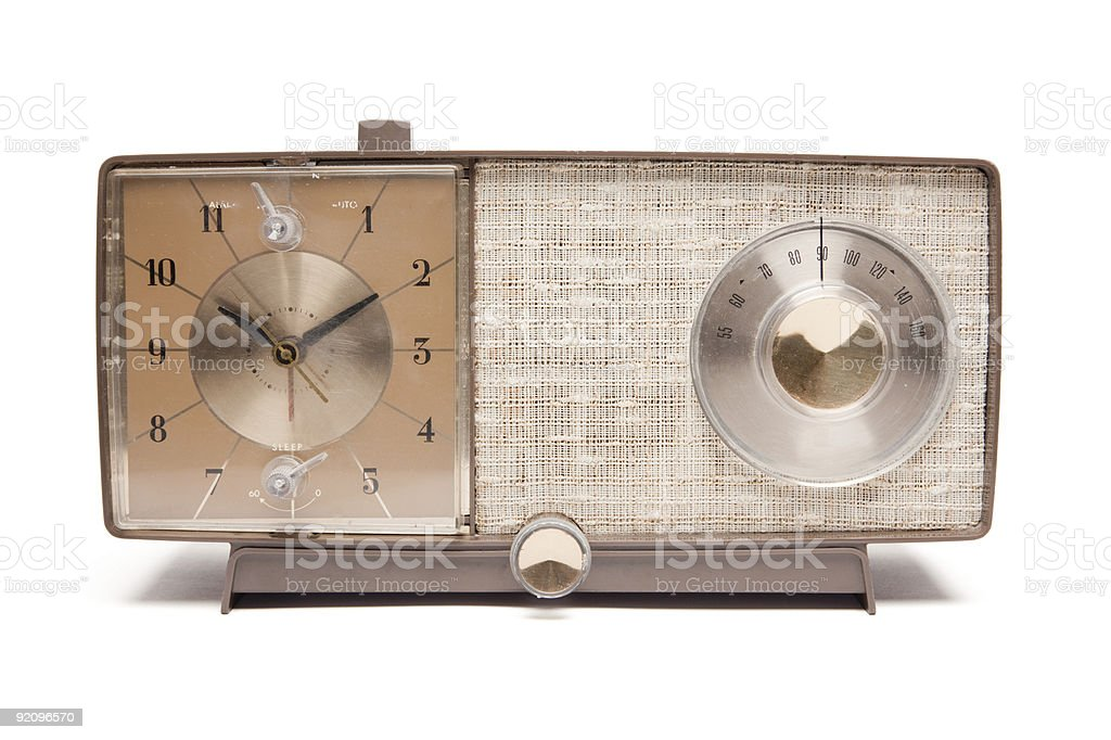 Vintage Clock Radio Isolated stock photo