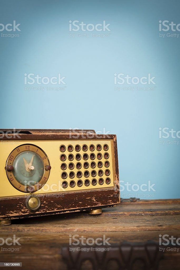 Vintage Clock Radio, With Copy Space stock photo