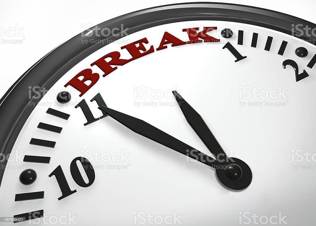 Vintage clock showing time for break stock photo
