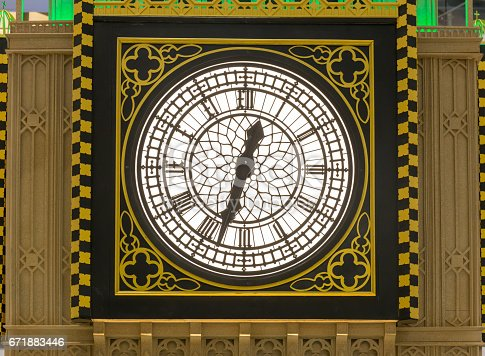istock vintage clock with classic golden frame 671883446