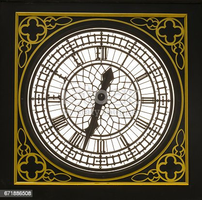 istock vintage clock with classic golden frame 671886508