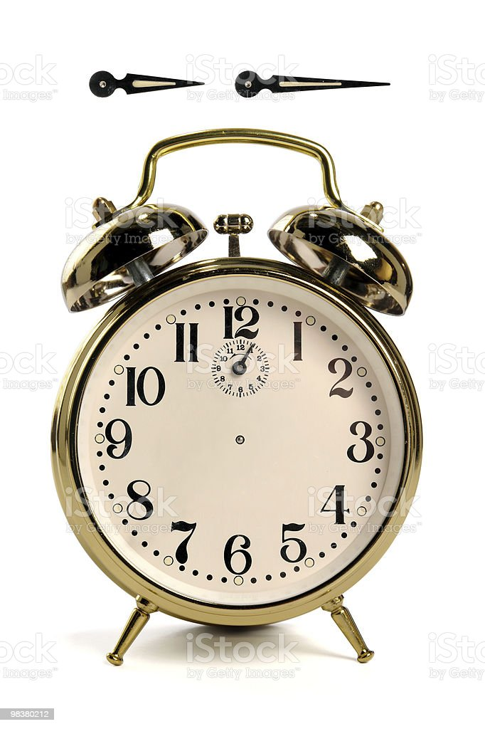 Vintage Clock with Hour and Minute Hands royalty-free stock photo