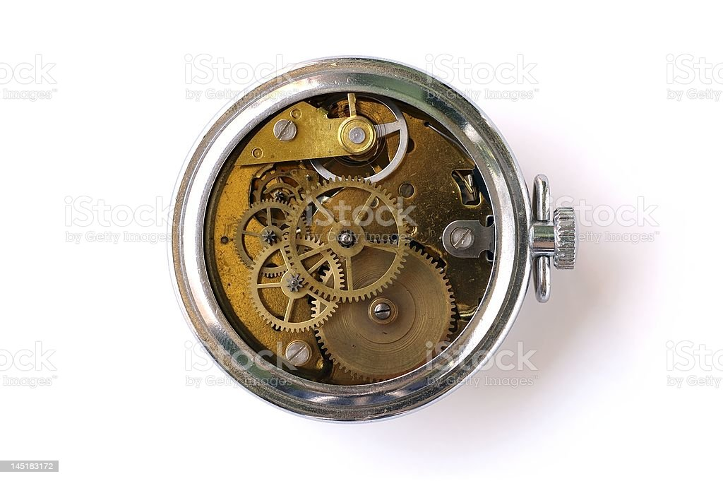 Vintage clock without clockwork cover stock photo