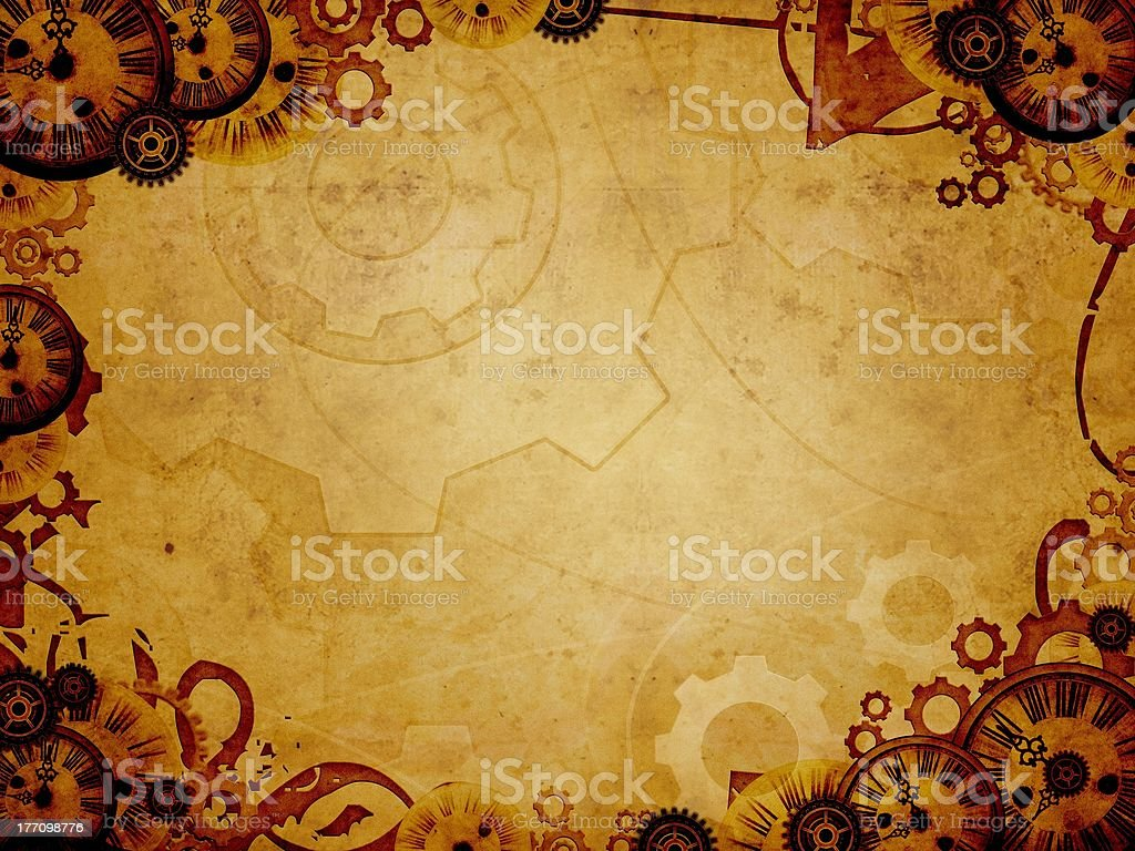 vintage clocks steam punk background stock photo