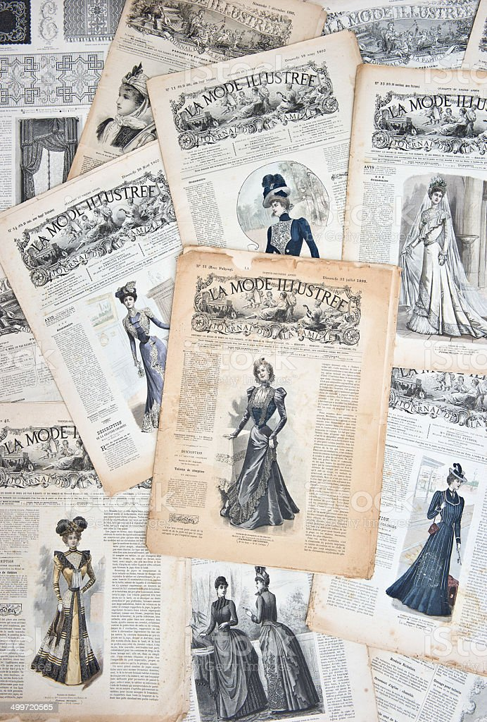 Vintage clothing. Nostalgic french fashion magazine background stock photo