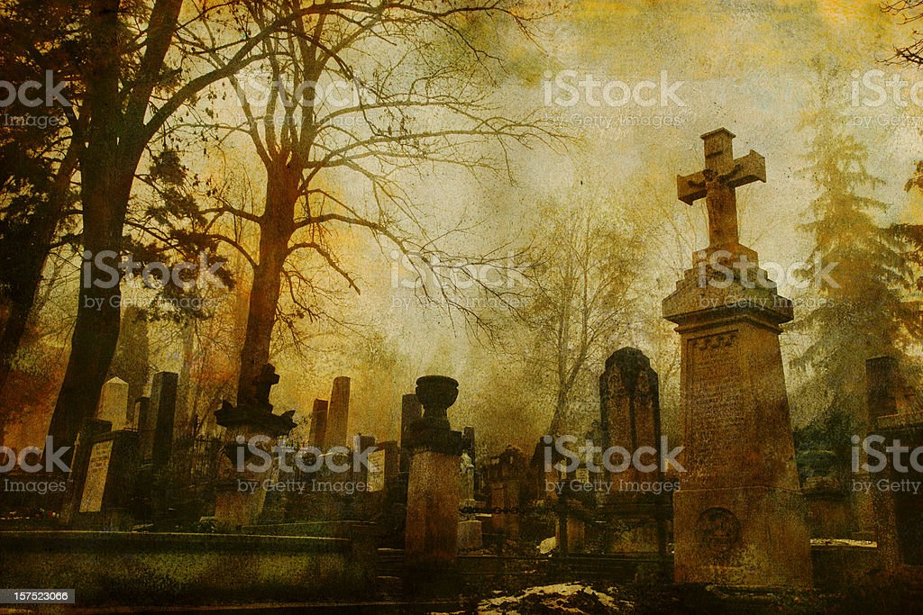 Vintage Cluj Cemetery stock photo