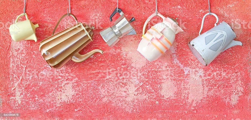 vintage Kaffeekannen Lizenzfreies stock-foto