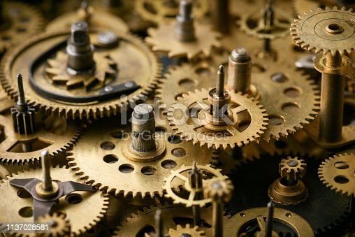 Vintage cogs and gears mechanism. Cooperation teamwork concept.