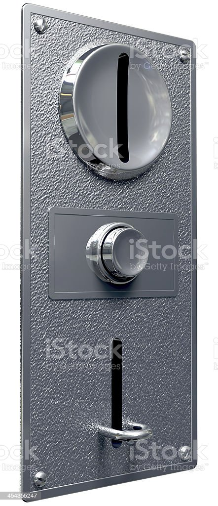 Vintage Coin Slot Machine Panel With Button Perspective royalty-free stock photo