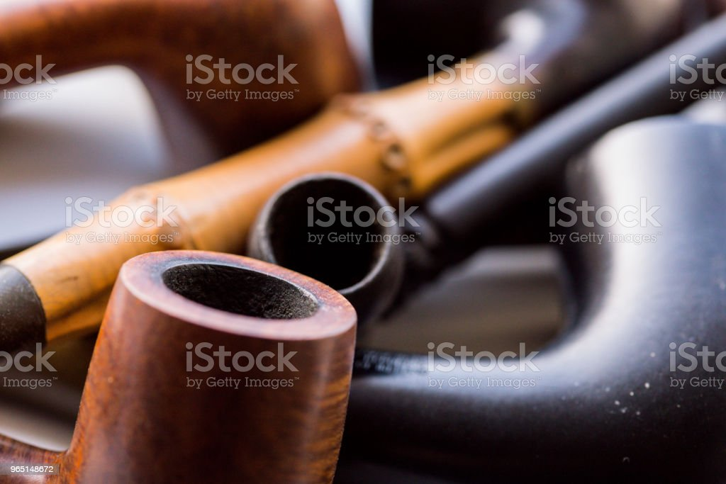 vintage collection of tobacco pipes zbiór zdjęć royalty-free