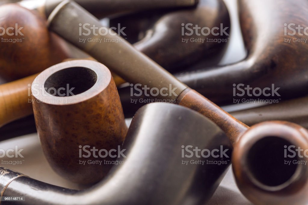vintage collection of tobacco pipes zbiór zdjęć royalty-free