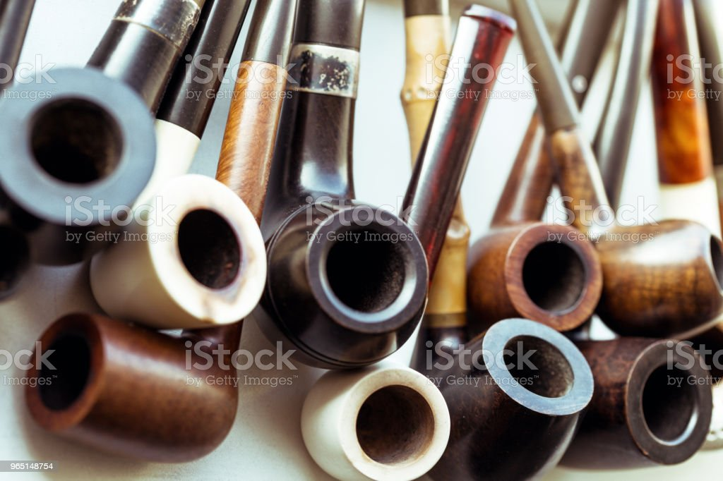 vintage collection of tobacco pipes royalty-free stock photo