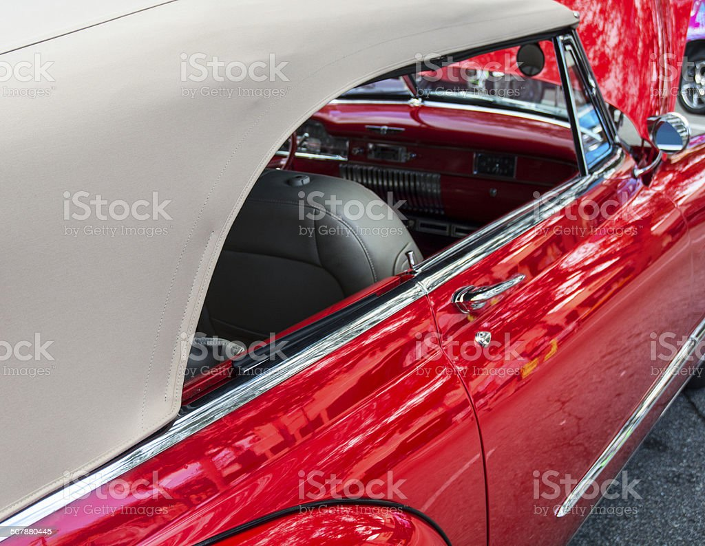 Vintage Collectors Red Car Convertible Rag Top royalty-free stock photo
