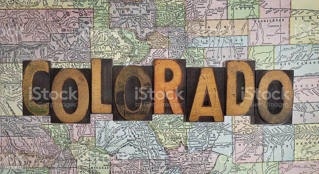 vintage Colorado map stock photo