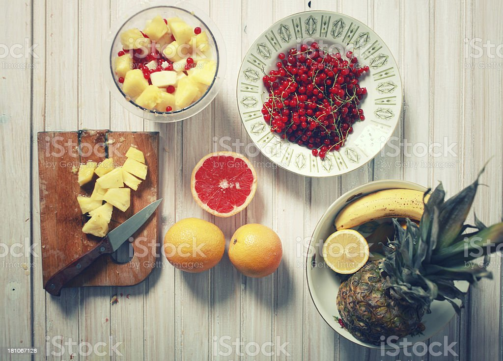 Vintage colored fruits royalty-free stock photo