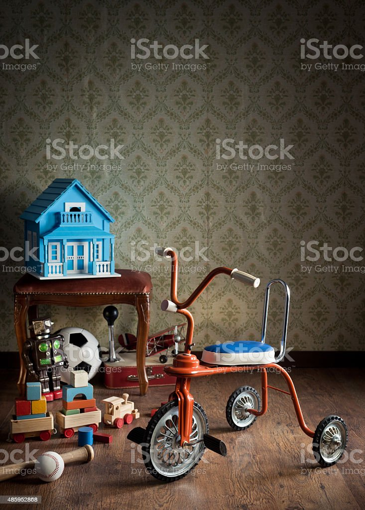 Vintage colorful tricycle stock photo