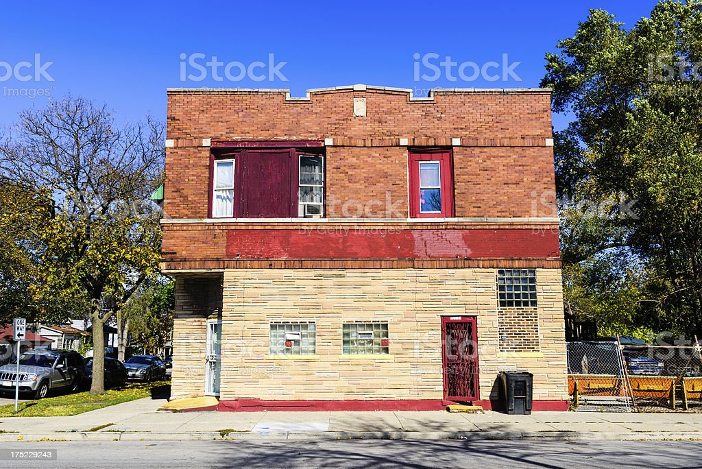 Vintage commercial building in Burnside, Chicago royalty-free stock photo