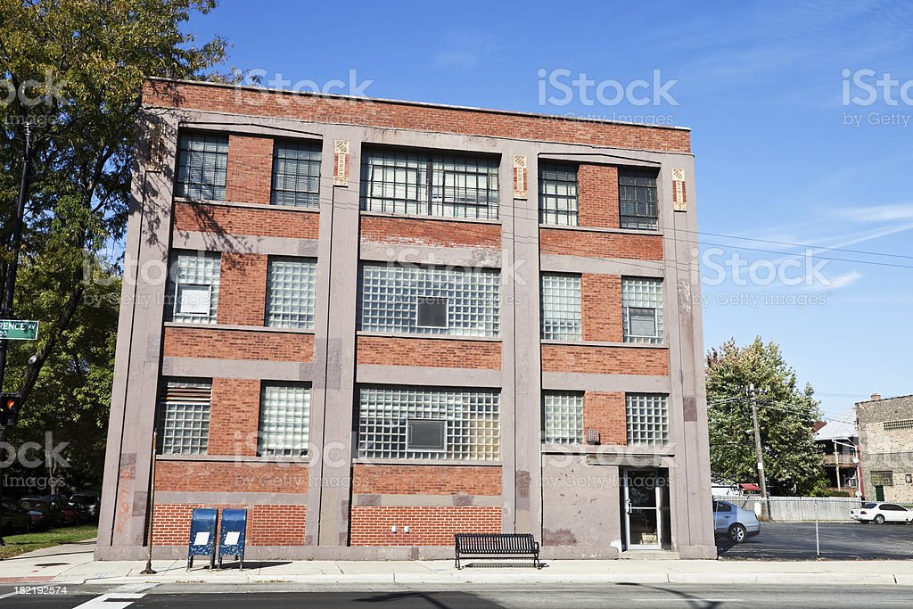 Vintage Commercial Building in Chicago Far North Side royalty-free stock photo
