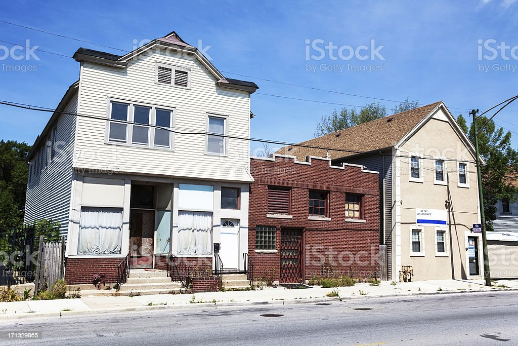 Vintage commercial buildings in Washington Heights, Chicago royalty-free stock photo
