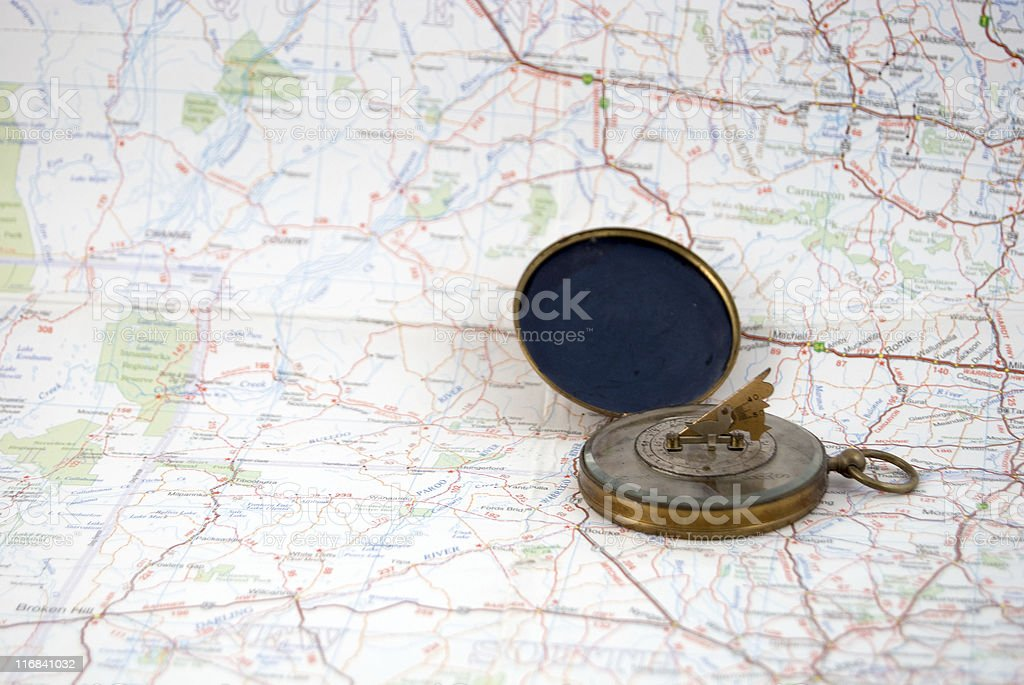 Vintage Compass and map royalty-free stock photo