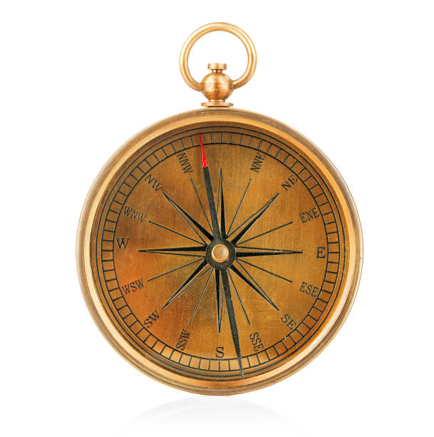Vintage compass isolated on white background. stock photo