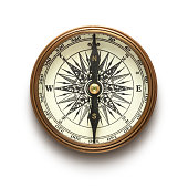 istock A vintage compass on a white background 178851466