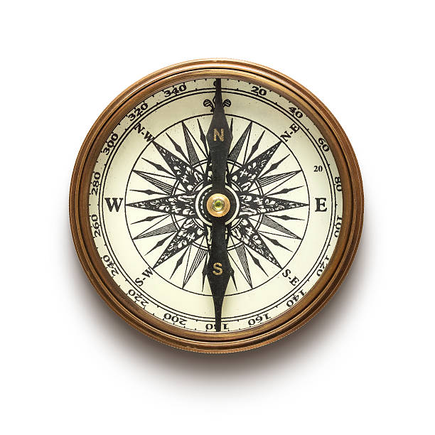 a vintage compass on a white background - west direction stock pictures, royalty-free photos & images