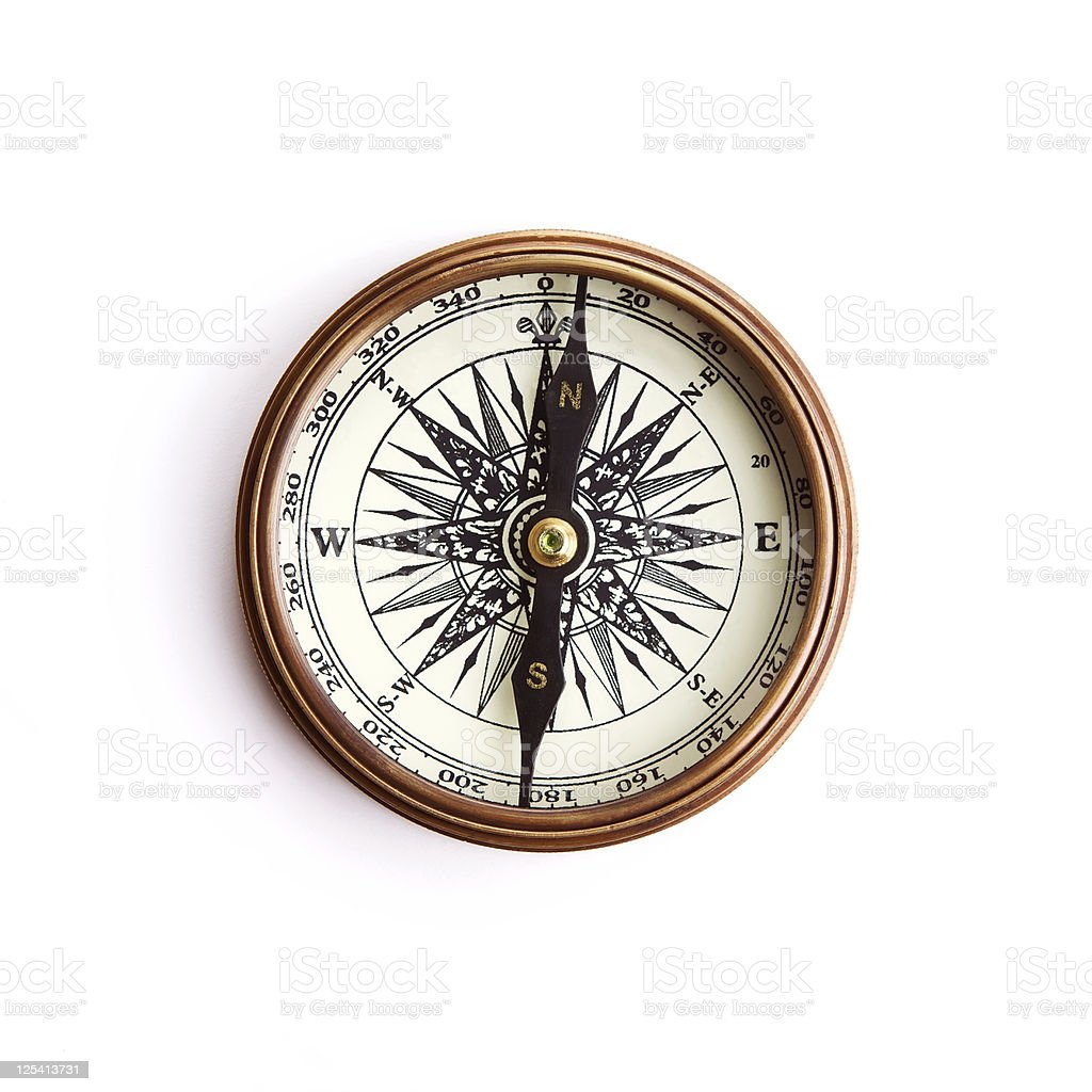 Vintage compass with clipping path royalty-free stock photo