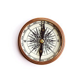 istock Vintage compass with clipping path 125413731