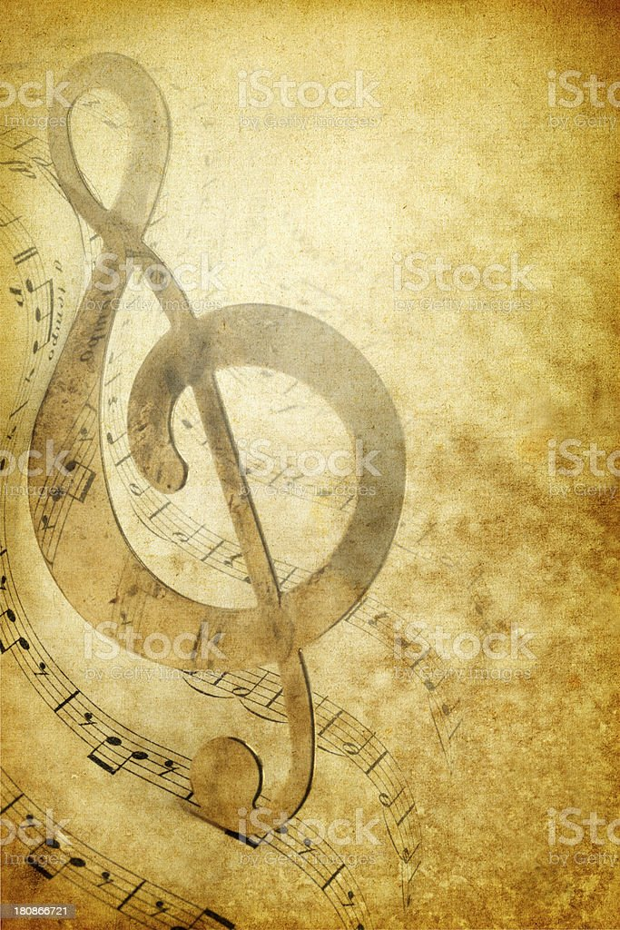 Vintage Composition Background With Treble Clef royalty-free stock photo