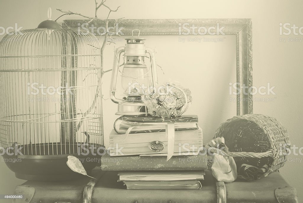 Vintage Composition with Albums. Sepia color stock photo
