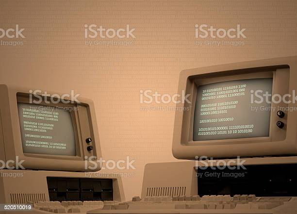 Vintage Computer Technology Background With Binary Code Stock Photo - Download Image Now