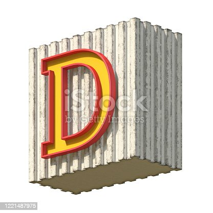 184385936 istock photo Vintage concrete red yellow font Letter D 3D 1221487975