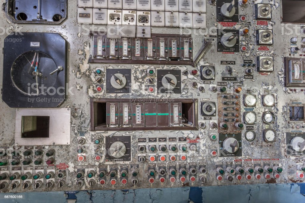 Vintage control panel in an abandoned factory stock photo