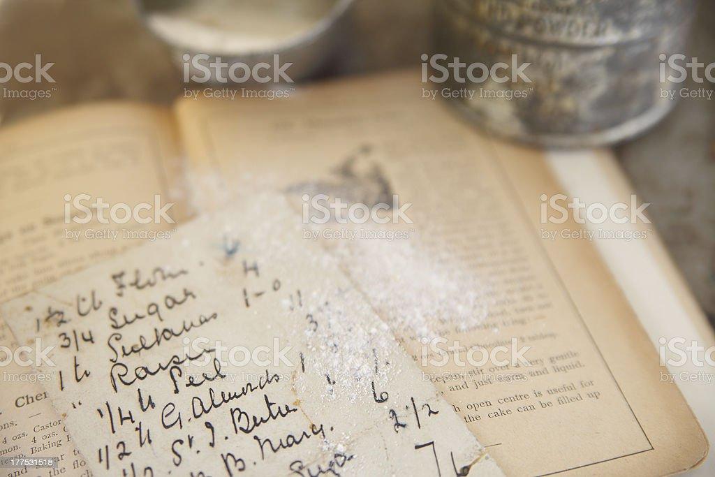 vintage cookbook with handwritten recipe stock photo